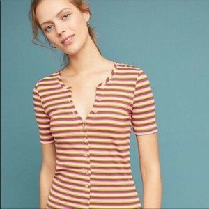 Anthropologie Maeve Women Top Small Striped Ribbed